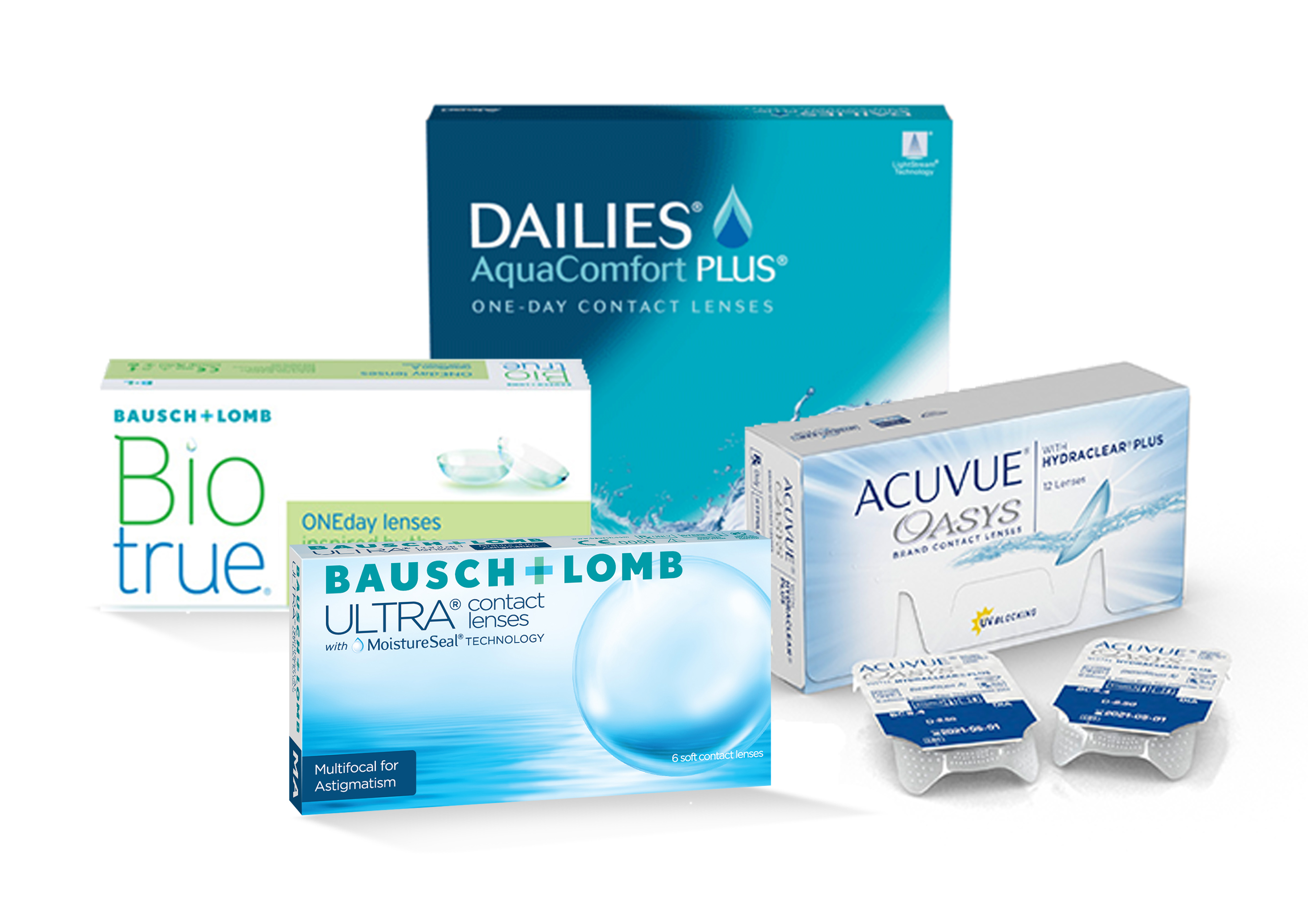 Group of assorted contact lens boxes