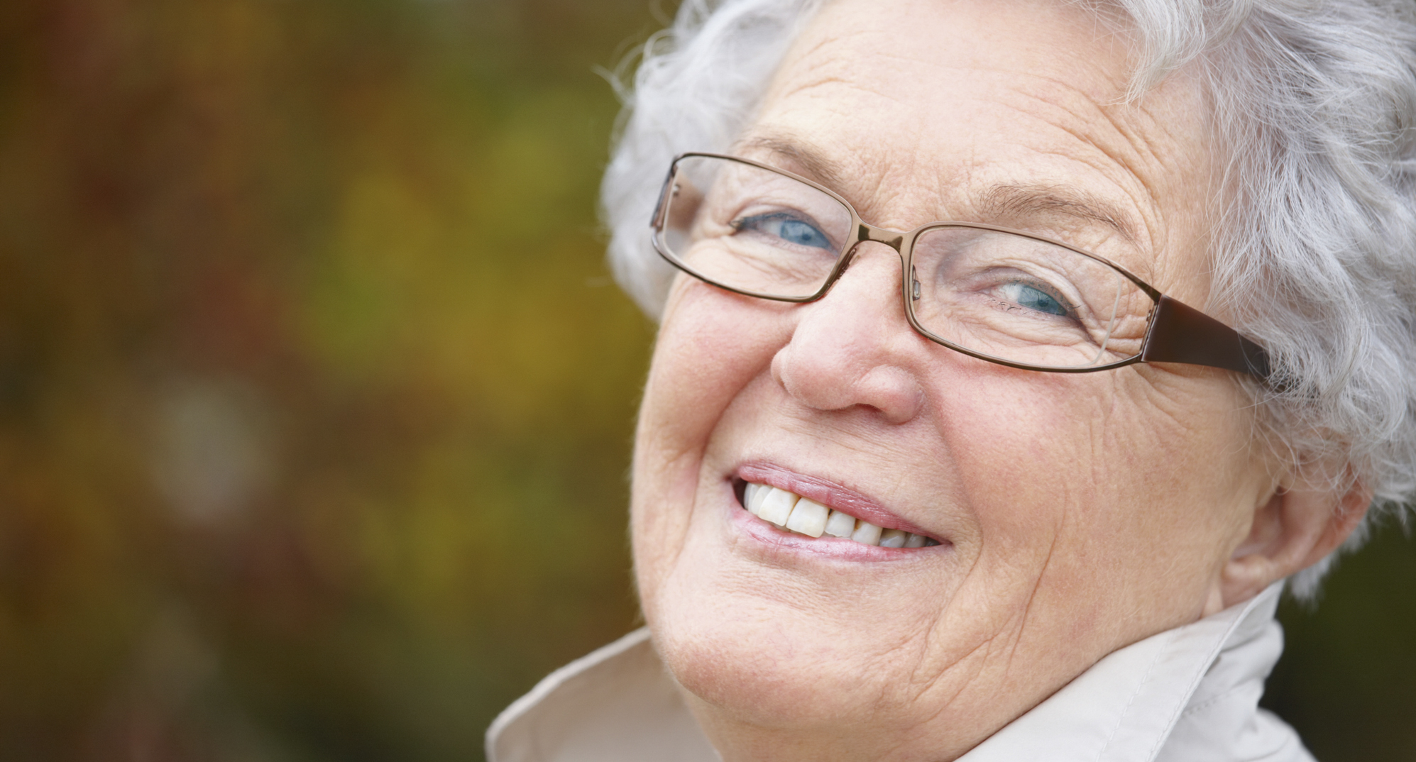 Don't let diabetes ruin your vision. Look out for these risks. Happy older woman wearing glasses