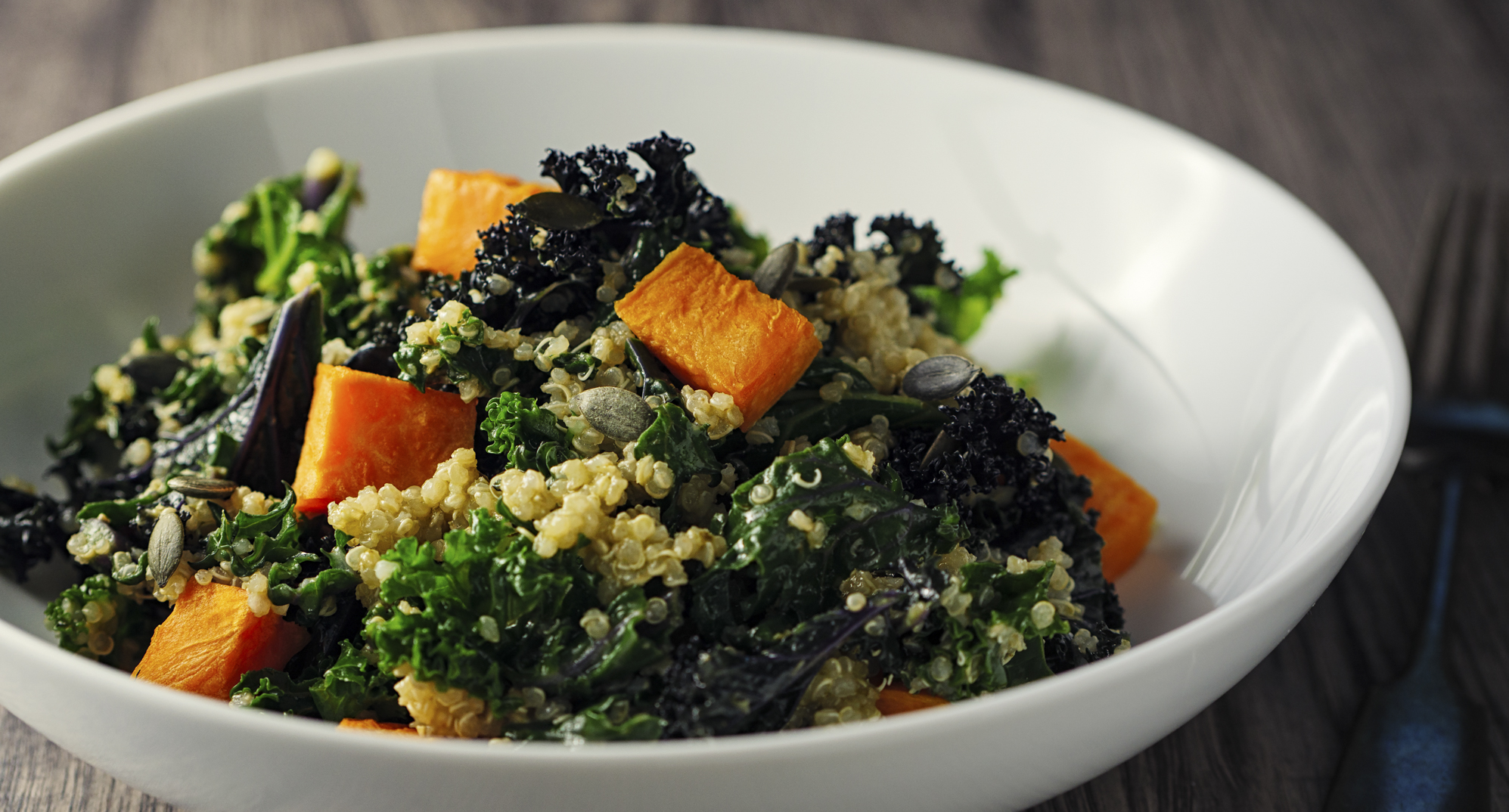 Quinoa and kale salad with butternut squash