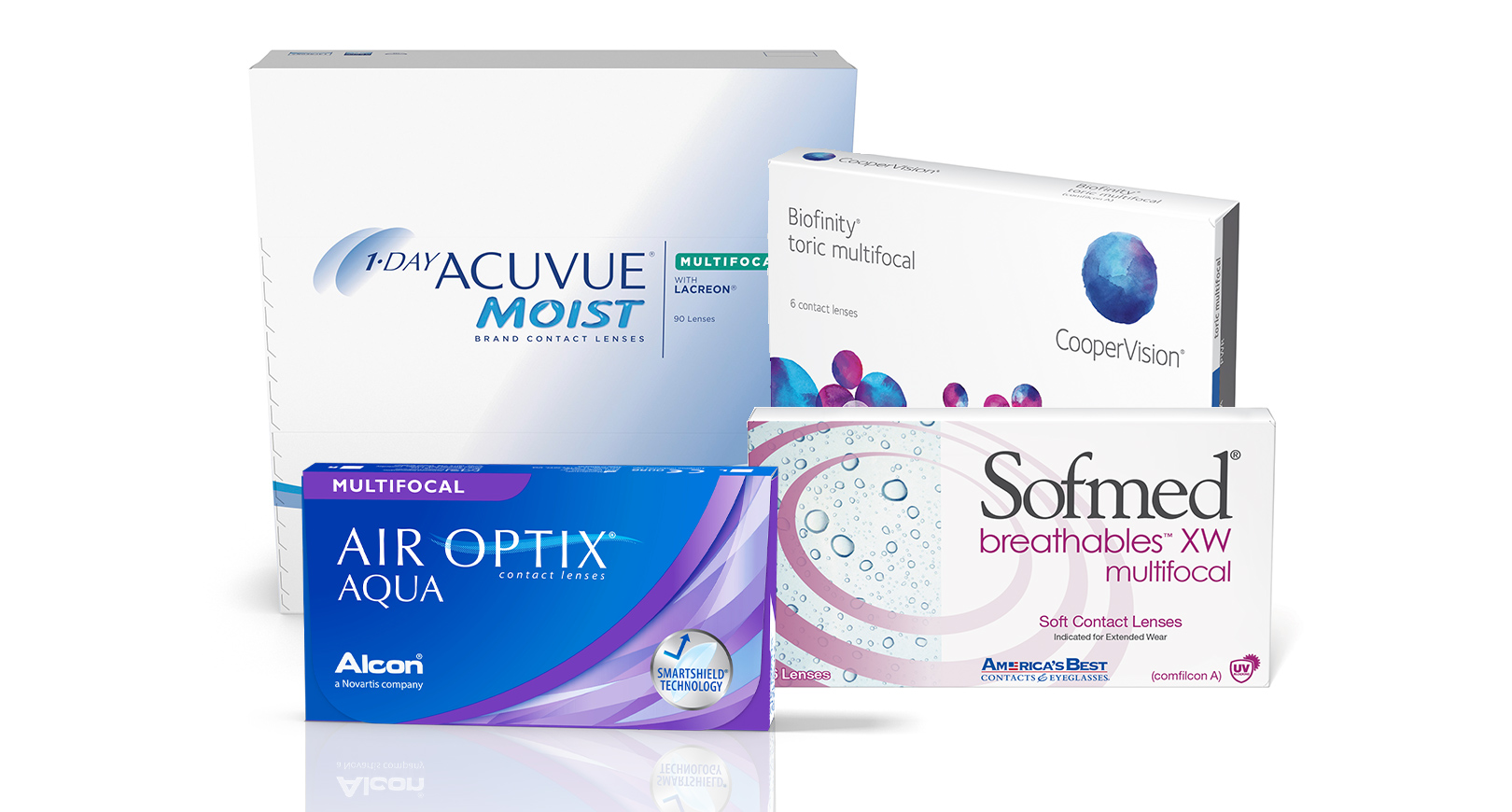 Boxes of multifocal contact lenses
