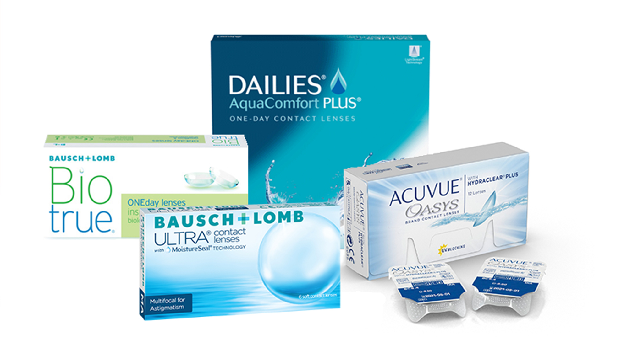 Assorted contact lens boxes